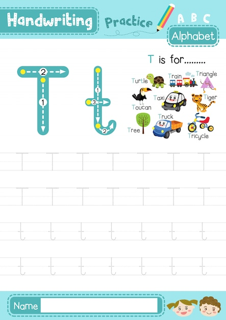 Premium Vector Letter T Uppercase And Lowercase Tracing Practice Worksheet