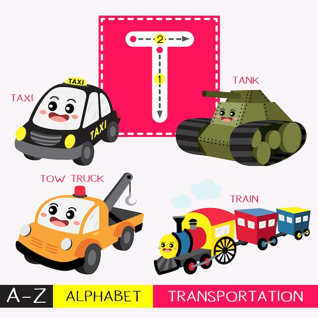 Letter t uppercase tracing transportations vocabulary Premium Vector