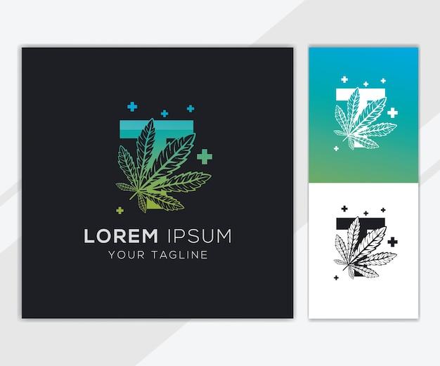 抽象的な大麻のロゴのテンプレートと文字t Premiumベクター