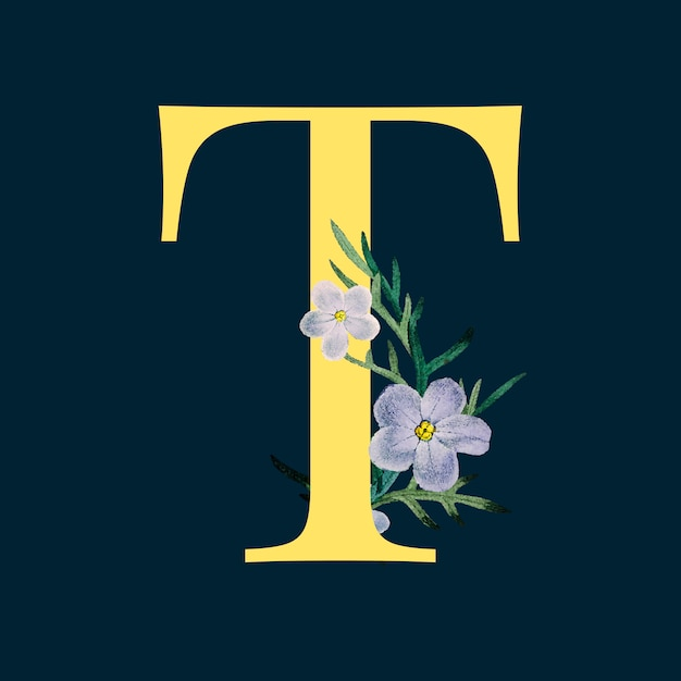 Letter t with blossoms Free Vector