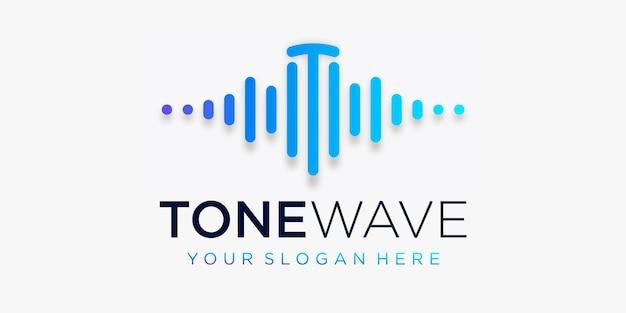 Буква t с пульсом. тональный волновой элемент. шаблон логотипа электронная музыка, эквалайзер Premium векторы