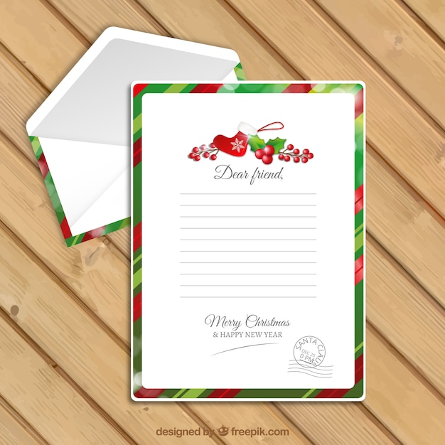 Letter template and envelope with christmas details vector free letter template and envelope with christmas details free vector stopboris Choice Image