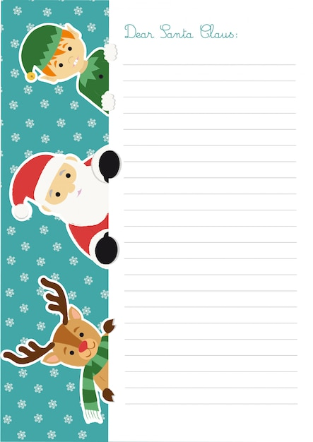 Letter template to santa claus with him, an elf and a reindeer peeping out at the left side Premium Vector