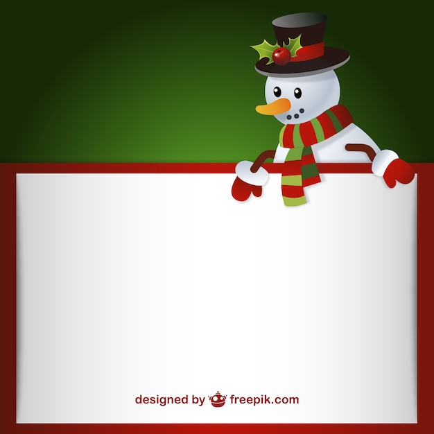 Letter template with snowman Free Vector