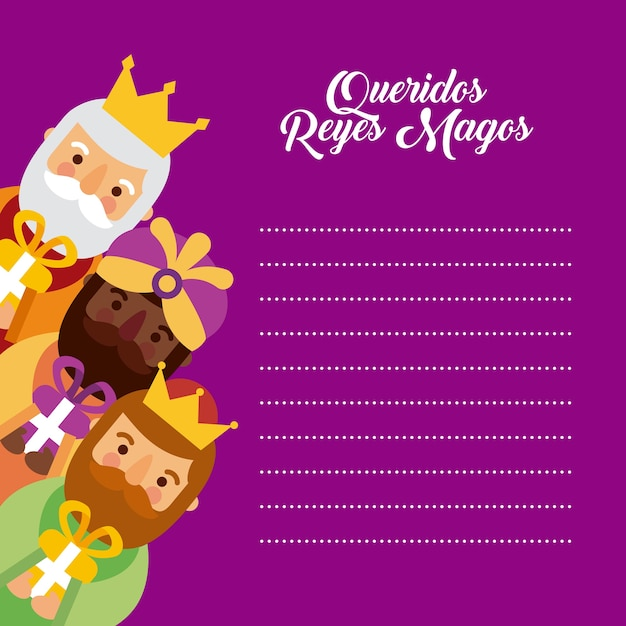 Letter to the three kings of orient celebration festivity Premium Vector