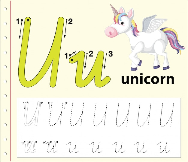 Letter u tracing alphabet worksheets Premium Vector