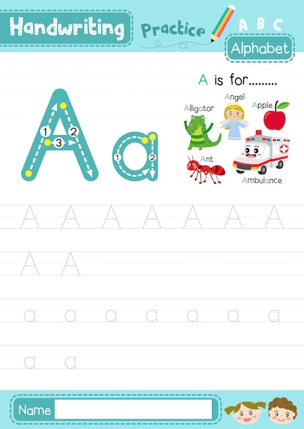 Premium Vector Letter A Uppercase And Lowercase Tracing Practice Worksheet