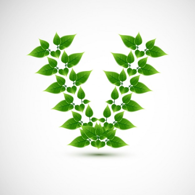 letter v design with leaves vector free download