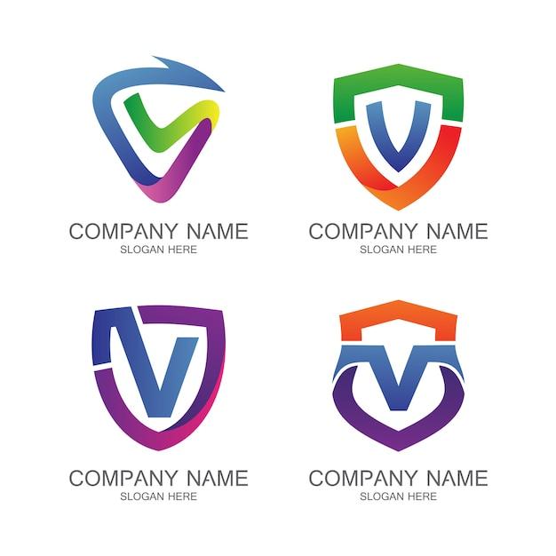 Letter v shield logo vector set Premium Vector