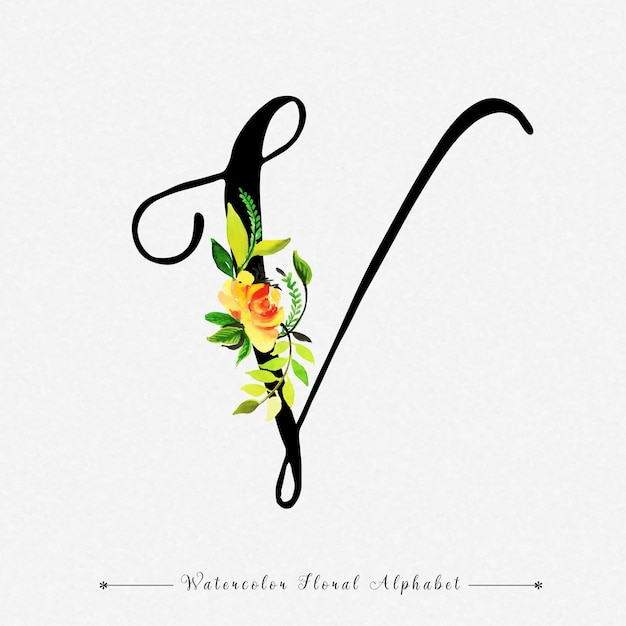 Letter v watercolor floral background vector premium download letter v watercolor floral background premium vector altavistaventures Images