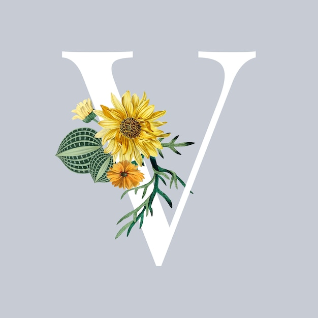 Letter v with blossoms Free Vector