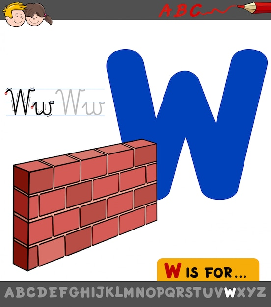 Letter w educational worksheet with wall Premium Vector