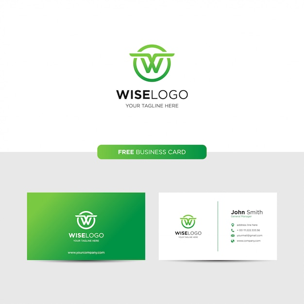 Letter w logo and business card Premium Vector