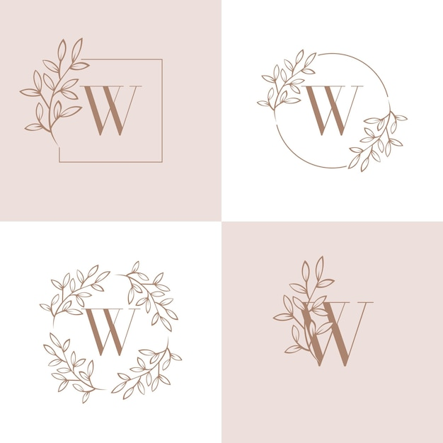 Letter w logo design with orchid leaf element Premium Vector