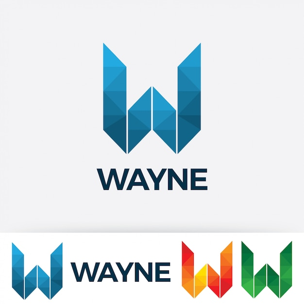 Letter W Logo Vector With Polygonal Style Premium