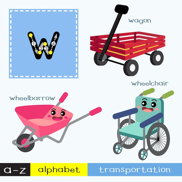 Letter w lowercase tracing transportations vocabulary Premium Vector