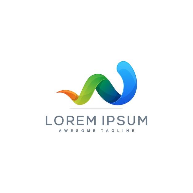 Letter w multicolored illustration concept illustration vector template Premium Vector