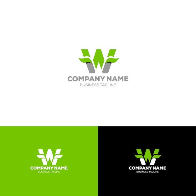 Letter w organic logo template Premium Vector