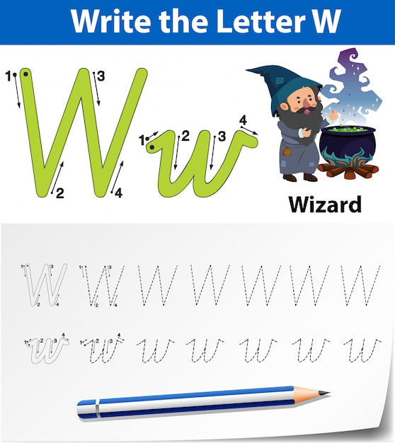 Letter w tracing alphabet worksheets Premium Vector