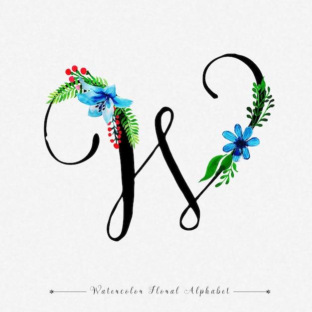Letter W Watercolor Floral Background Premium Vector