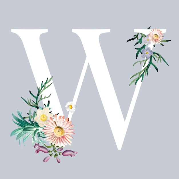 Letter w with blossoms Free Vector
