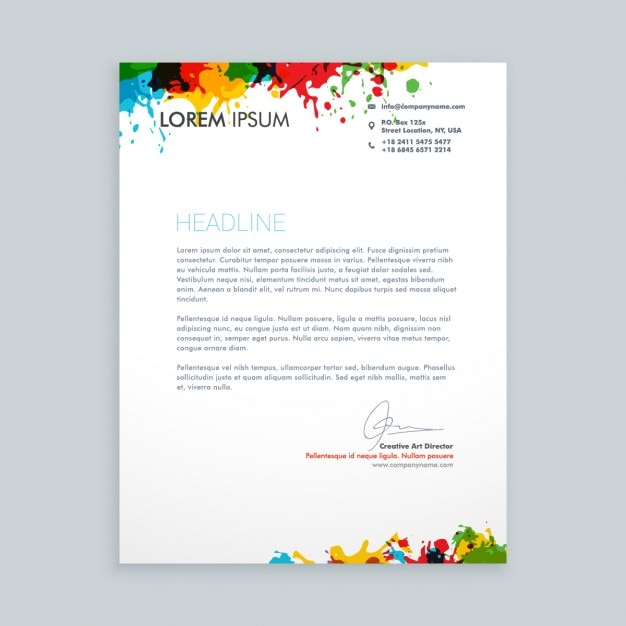 Letter with colorful ink splash letterhead vector free download letter with colorful ink splash letterhead free vector spiritdancerdesigns