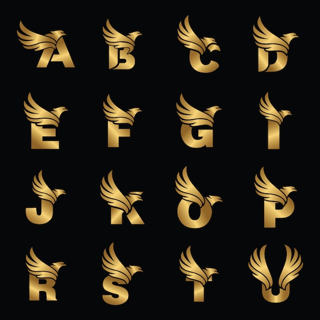 Letter with eagle gold logotype template Premium Vector