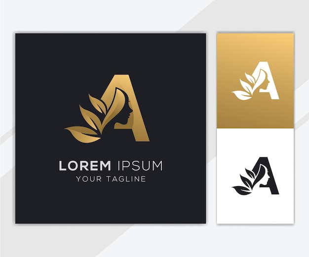 Letter a with luxury natural feminine beauty logo template Premium Vector