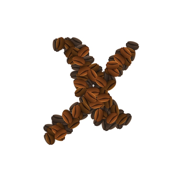 커피 곡물의 문자 x 무료 벡터