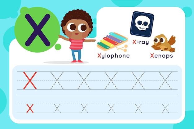 Foglio di lavoro lettera x con xilofono e raggi x Vettore gratuito