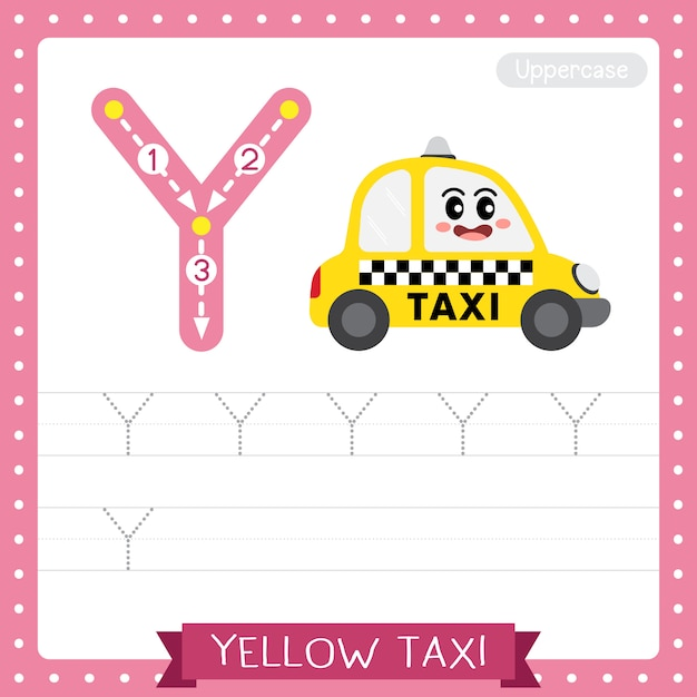 Letter y uppercase tracing practice worksheet. yellow taxi Premium Vector