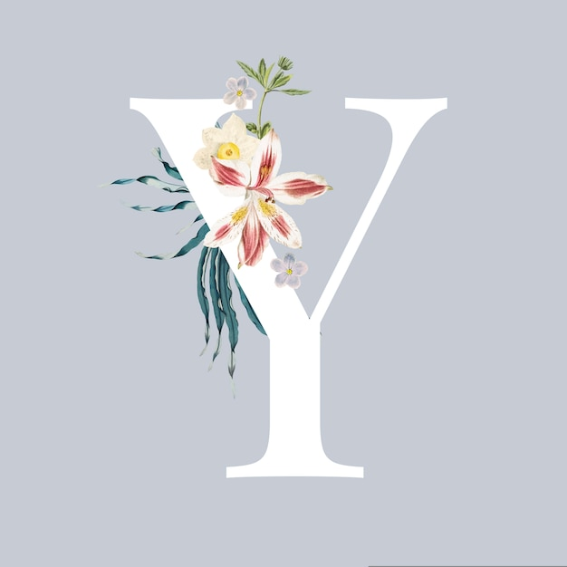 Letter y with blossoms Free Vector