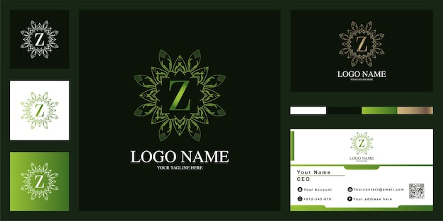 비즈니스 카드와 편지 Z 럭셔리 장식 꽃 프레임 로고 템플릿 디자인. 프리미엄 벡터