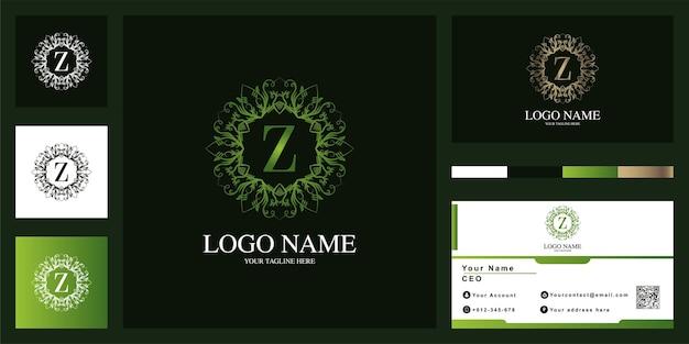 名刺と文字z高級飾りフラワーフレームロゴテンプレートデザイン。 Premiumベクター