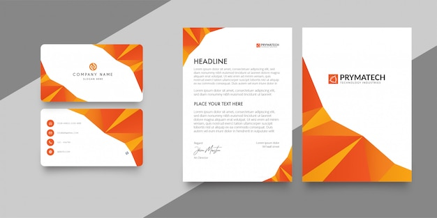 Letterhead and business card corporative pack Free Vector
