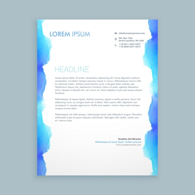 Letterhead Design With Blue Ink Vector Free Download