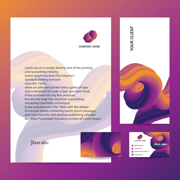 Letterhead,envelope and business card with trendy design Premium Vector