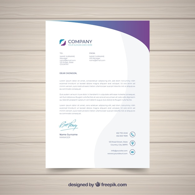 Letterhead template in flat style Free Vector
