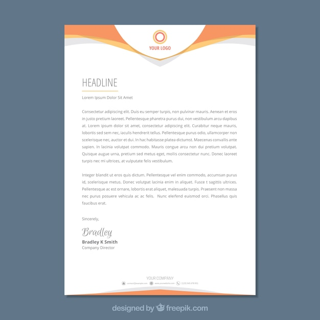 Psd Corporate Letterhead Template 000401: Letterhead Template In Flat Style Vector
