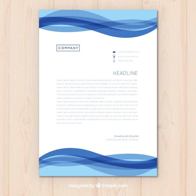letterhead template with blue waves vector | free download