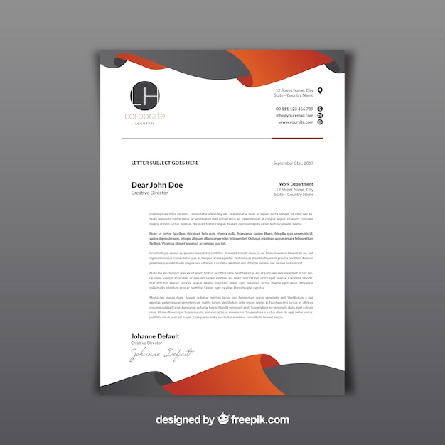 Letterhead template with gray and orange abstract shapes Free Vector