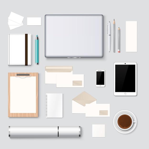 Letterhead and web design mockup template background Premium Vector