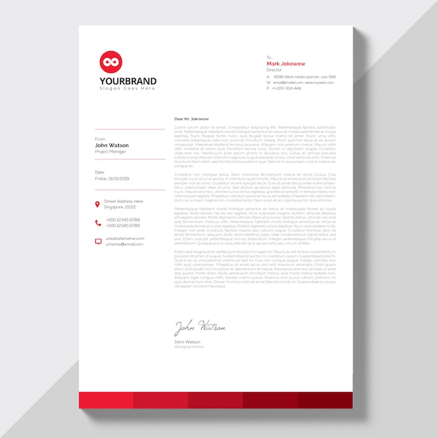 Letterhead with red details Premium Vector