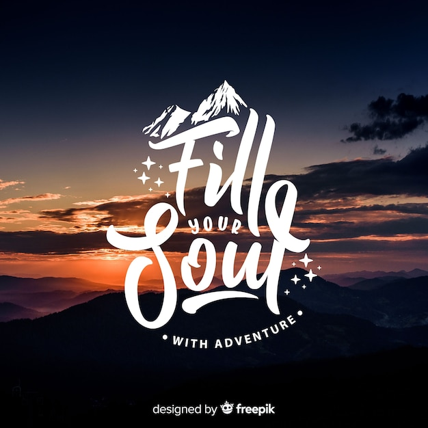 Lettering adventure background with photo Free Vector