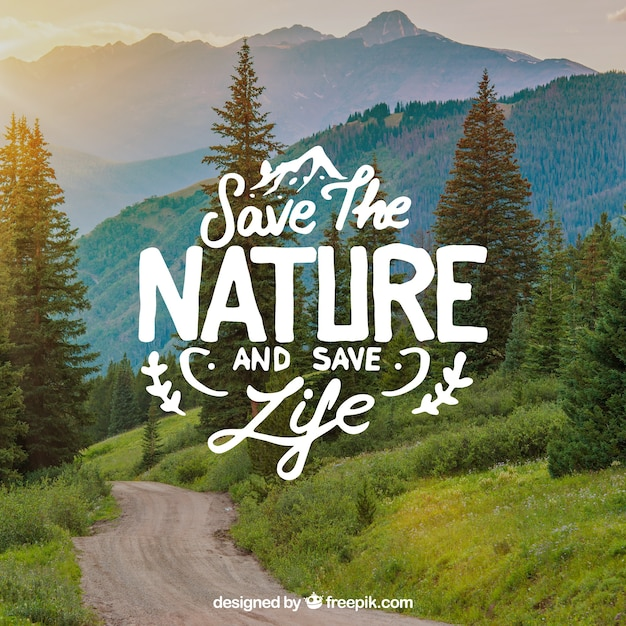 Lettering And Quote Design On Beautiful Nature Background Free Vector