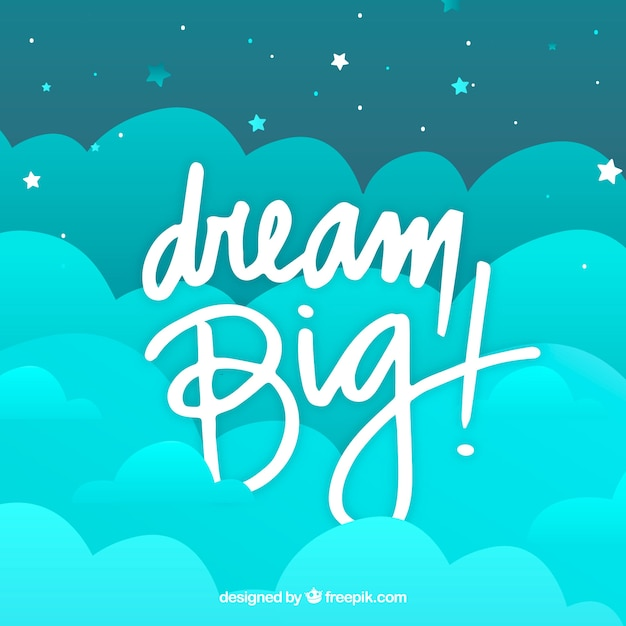 Lettering and quote design with clouds Free Vector