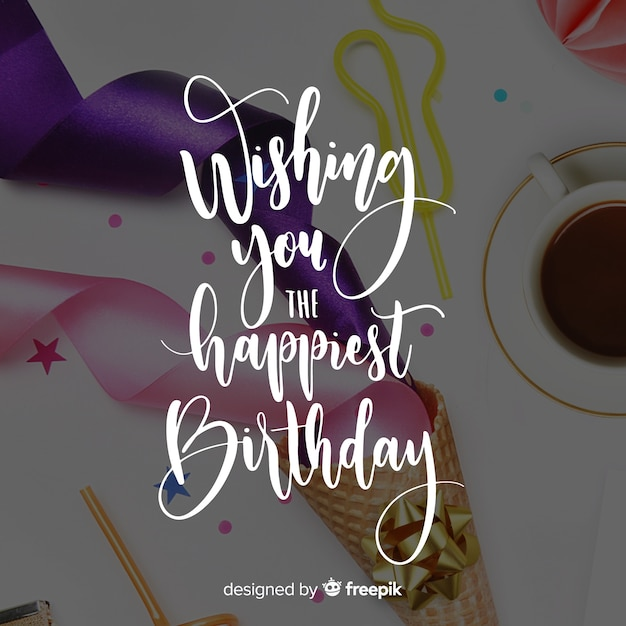 Lettering birthday background Free Vector