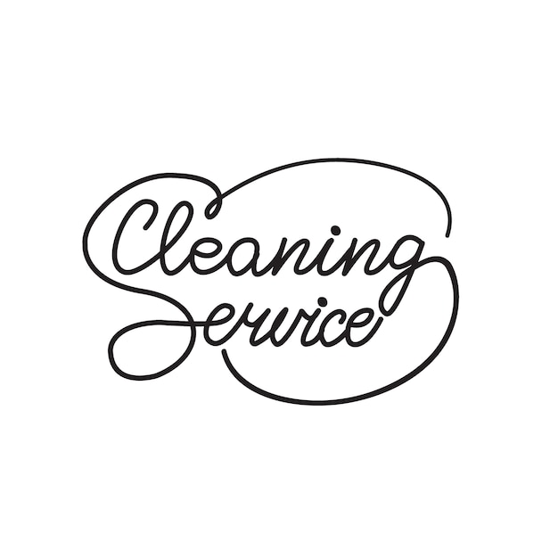 Lettering cleaning service. vector illustration. Premium Vector