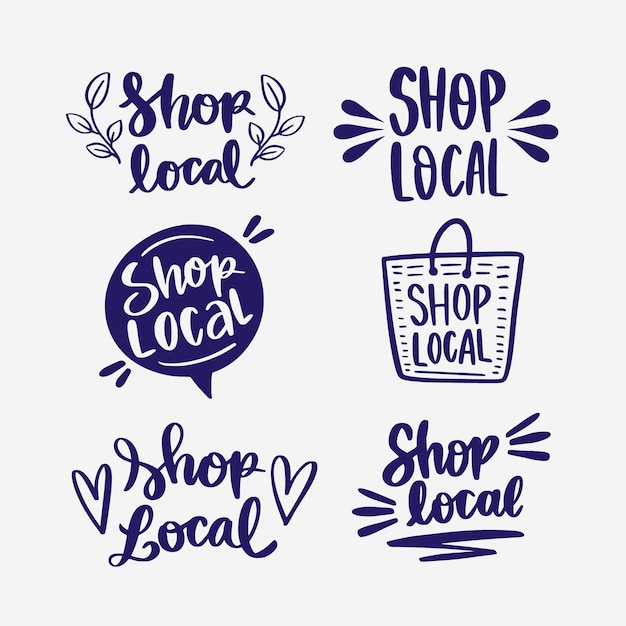 地域のビジネスをサポートするためのレタリングコレクション 無料ベクター