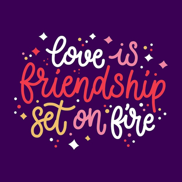 Lettering concept for romantic message Free Vector